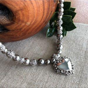 Vintage Silvertone Beaded Necklace w/Heart Pendant